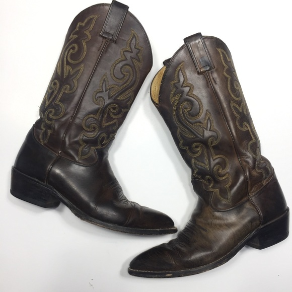 Justin men's cowboy boots dark brown leather 7.5EE